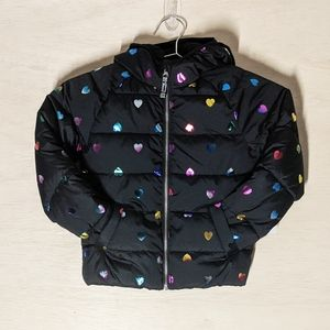 NWT Old Navy Kids Puffer Jacket Holographic Hearts